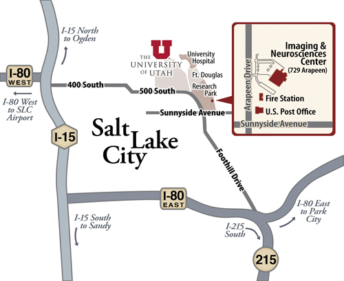 Map of the University of Utah Imaging and Neurosciences Center (INC)